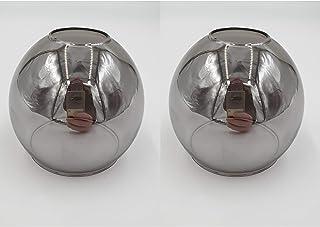 Set Ersatzschirm E14 LED geeignet Lampenschirm rauchfarbig Ersatzglas smoke Lampe Pendellampe Nachttischleuchte Deckenstrahler Lampenglas 2Stk. rauchfarbig