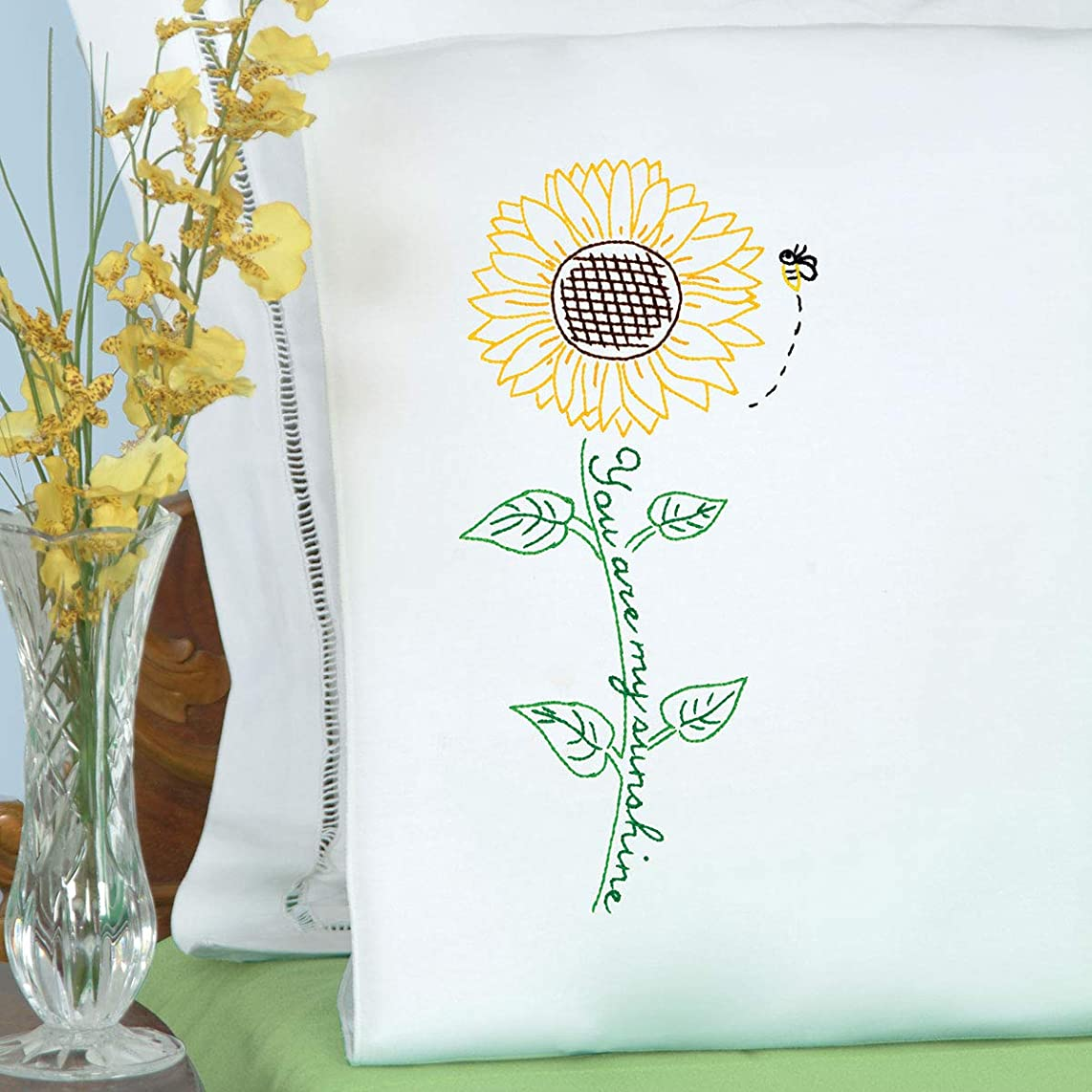 Jack Dempsey Needle Art 1600704 Sunflower Hand Embroidery, Standard Size, White