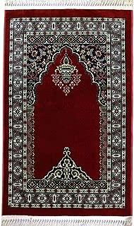 Modefa Traditional Floral Kilim Muslim Turkish Prayer Rug Carpet Sajadah Janamaz with Free Miswak (Red)