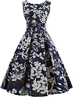 Wellwits Women's Print High Waist Pleated Tea Party 1950s Vintage Swing Dress