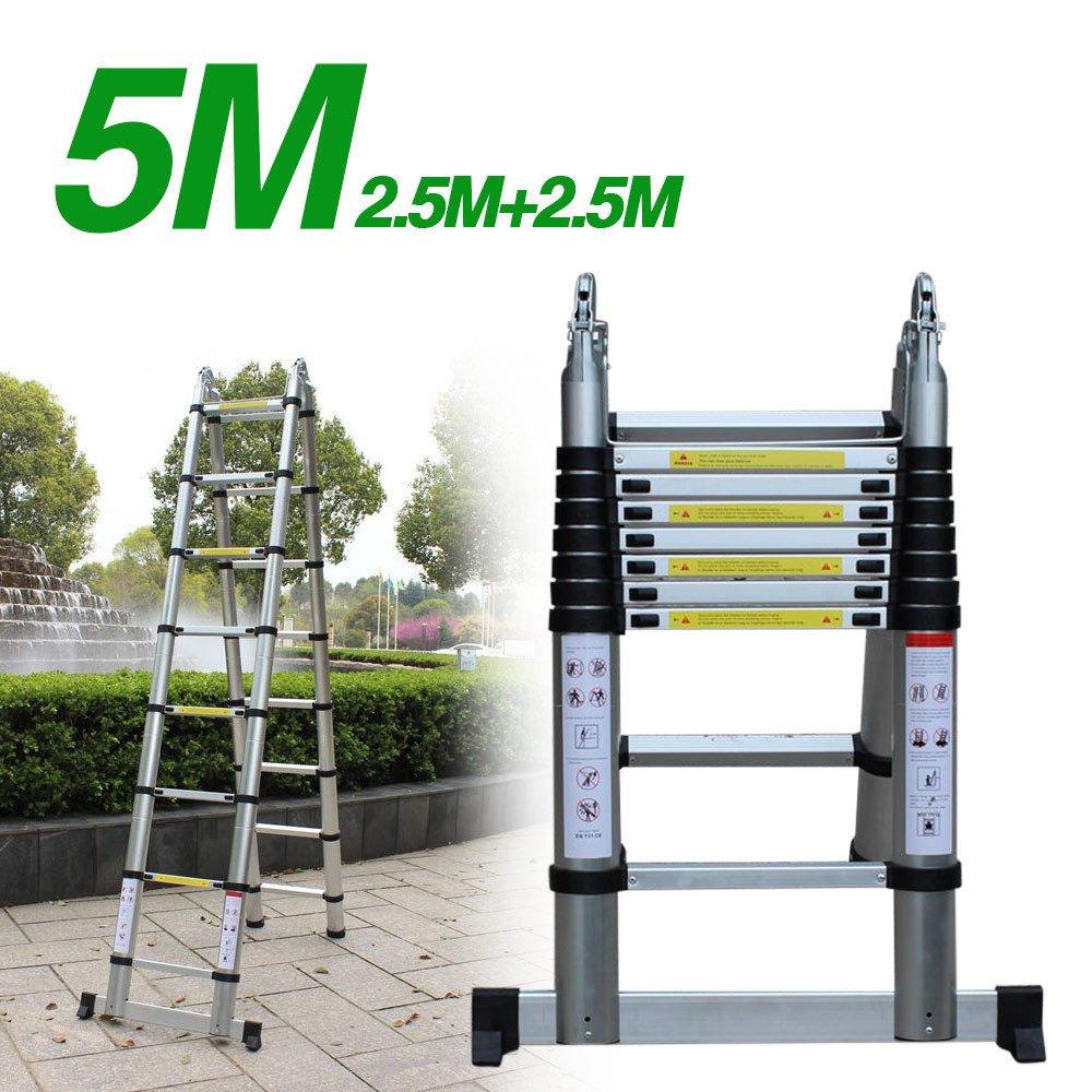 Escalera telescópica de aluminio escalera multifunción, yiyiby Escalera profesional – Escalera doble cara de pie y escaleras escalera escalera telescópica maX. Resistencia de 150 kg (5 m): Amazon.es: Bricolaje y herramientas