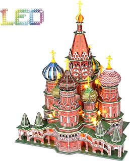 Cubicfun 3D Puzzles with LED Light Saint Basil's Cathedral Russia Architecture Building Model Kits Puzzles for Adults Kids, 224 Pieces