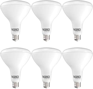 Sunco Lighting 6 Pack BR40 LED Bulb, 17W=100W, Dimmable, 3000K Warm White, 1400 LM, E26 Base, Indoor Flood Light for Cans ...