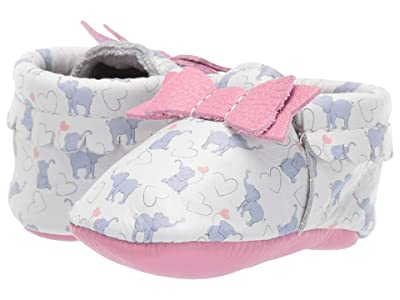 Freshly Picked Elephant Fun Bow Mocc (Infant/Toddler) (Pink/Gray/White) Girl