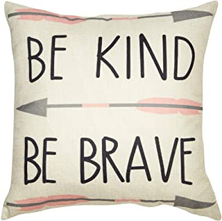 Kissmuyan 18x18 Inches Cotton Linen Home Decorative Quote Words Throw Pillow Case Cushion Cover Tribal Girl Nursery Art Be Kind Be Brave Throw Cushion Cover for Sofa