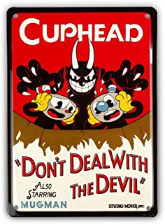 Cuphead Collectibles   Cuphead Don't Deal with The Devil Tin Sign