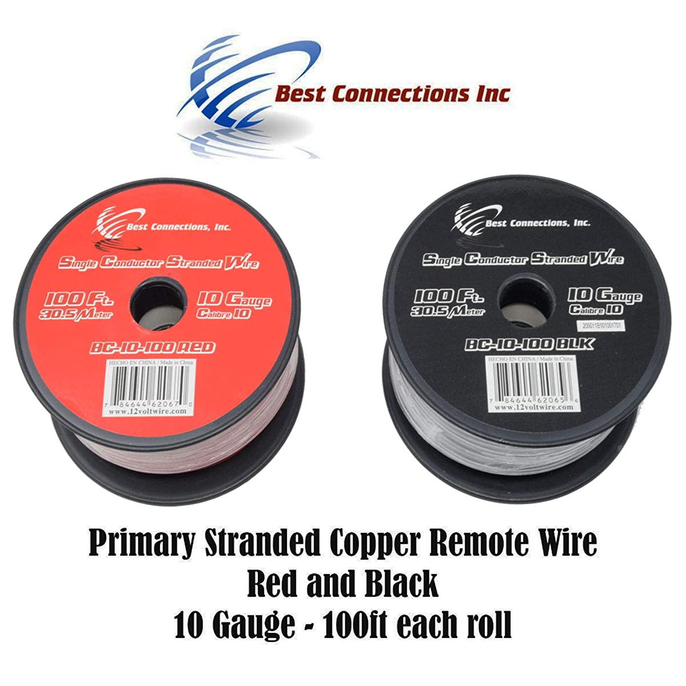 10 GAUGE WIRE RED & BLACK POWER GROUND 100 FT EACH PRIMARY STRANDED COPPER CLAD