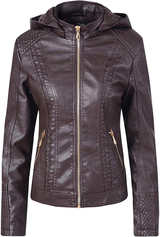 Women's Winter Warm Sherpa Lined Zip Hooded Moto Faux Leather Jacket