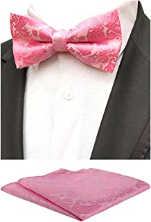 MOHSLEE Mens Pink Paisley Pre-Tied Bowtie Wedding Self Bow Tie Pocket Square Set