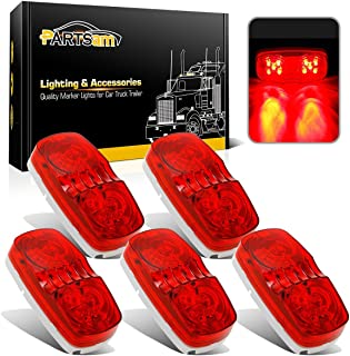 Partsam 5Pcs Double Bubble Bullseye Led Side Marker Clearance Lights Red 10 Diodes Surface Mount Waterproof 4