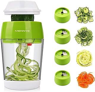 MENNYO Coupe Légumes Spirale avec Boîte, 4 en 1 Spiraliseur de Légumes Spiralizer Legume Spaghetti Mandoline Cuisine, Tran...