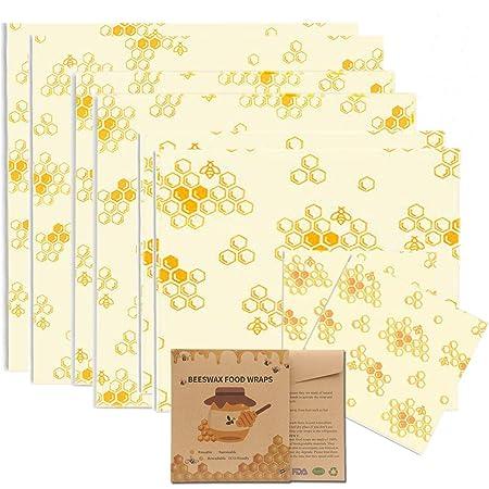 Bugucat Emballage Cire d'abeille,Bio 8 Pcs Paquet Bee Wraps,Zéro Déchet Beeswax Wraps,Emballages Alimentaires Réutilisables écologiques,pour Le Fromage à Sandwich Fruits Et Légumes à Conserver Frais
