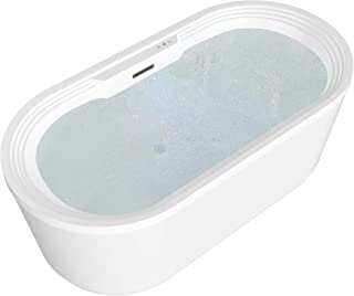 ANZZI Jetson Whirlpool Air Jetted Acrylic Freestanding Bathtub in White   Over 200 Aero-Therapeutic Bubble Massage Jets Socking Tub with Light Up Control Pad and Four Colored Bath Lights   FT-AZ087