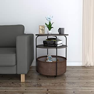 Lifewit Round Side Table End Table with Fabric Storage Basket in Livingroom, Nightstand in Bedroom, Super Easy to Assemble, Drak Brown