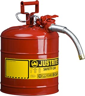 Justrite 7250130 Galvanized Steel, AccuFlow Type II Red Safety Can with 1