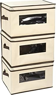 Juvale Set of 3 Foldable Storage Boxes with Lid - Storage Containers, Clothing Storage Bins for Clothes, Documents, Household Items - Beige, Large, 15.75 x 12 x 10.25 Inches