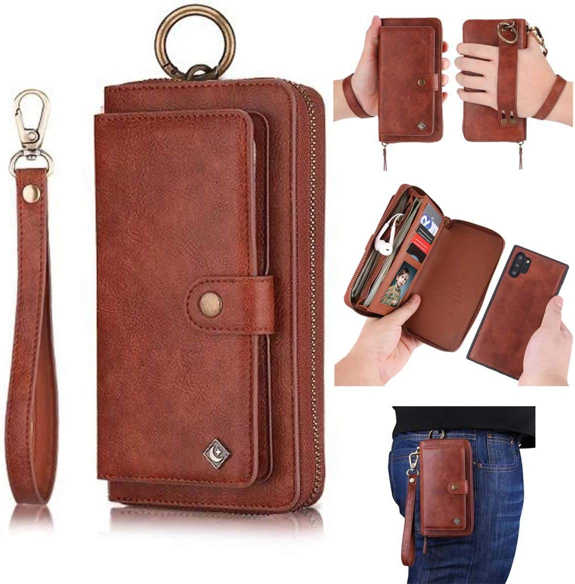 AIFENGCASE for Samsung Galaxy Note 10 Phone Case,Wallet Case for Women Men Girls,Wristlets Clutch Zipper Leather Pouch Wallet Flip Case Card Holder Magnetic Detachable Back Cover,Brown