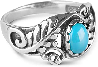 American West Sterling Silver Sleeping Beauty Turquoise Gemstone Leaf Ring Size 05 to 10