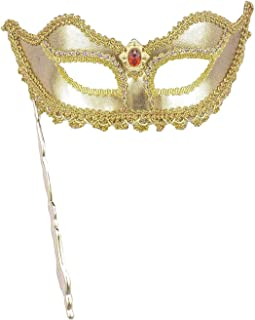 gold mask with stick
