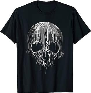 Melting Skull Black White Art Graphic Halloween TShirt
