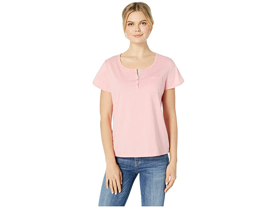 Karen Neuburger Picnic In Tuscany Short Sleeve Henley Top (Solid/Peach) Women