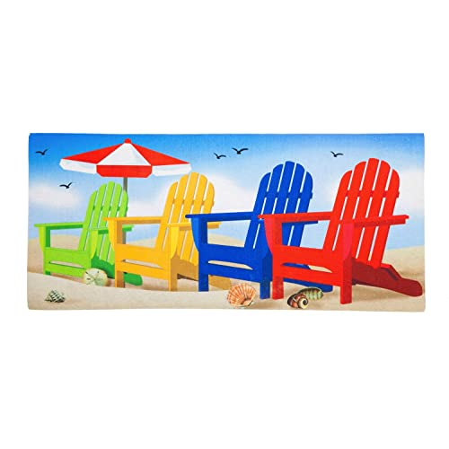 Evergreen Colorful Adirondack Chairs Decorative Floor Mat Insert, 10 X 22  Inches