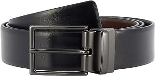 Nuvola Pelle Cintura Uomo Reversibile Double Face in Pelle Made in Italy H 34mm Accorciabile con Fibbia Girevole Nero/Marr...