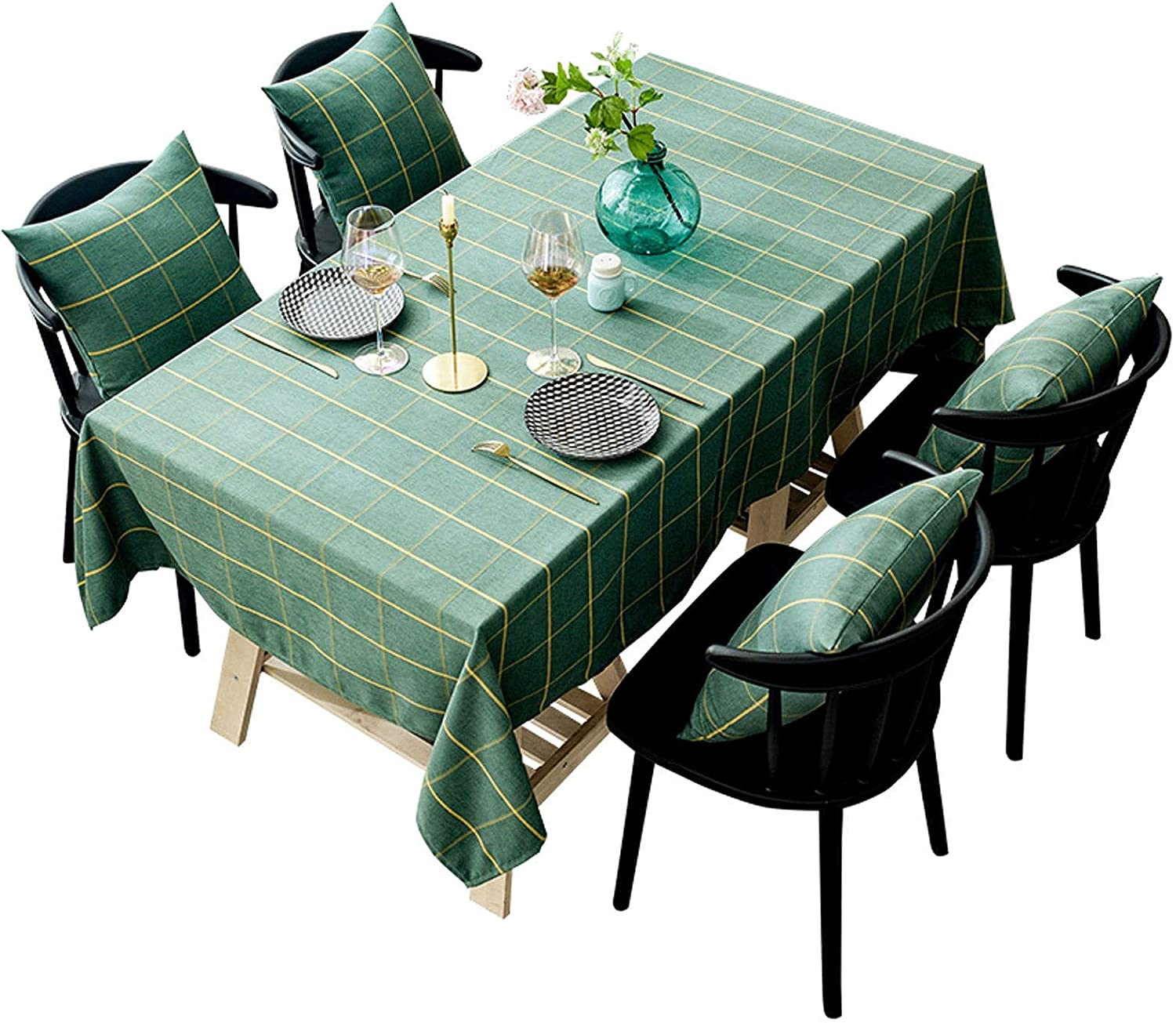 Don't miss the campaign Country Style Gingham Table Cover Linen Rectangle High order Cotton Simple