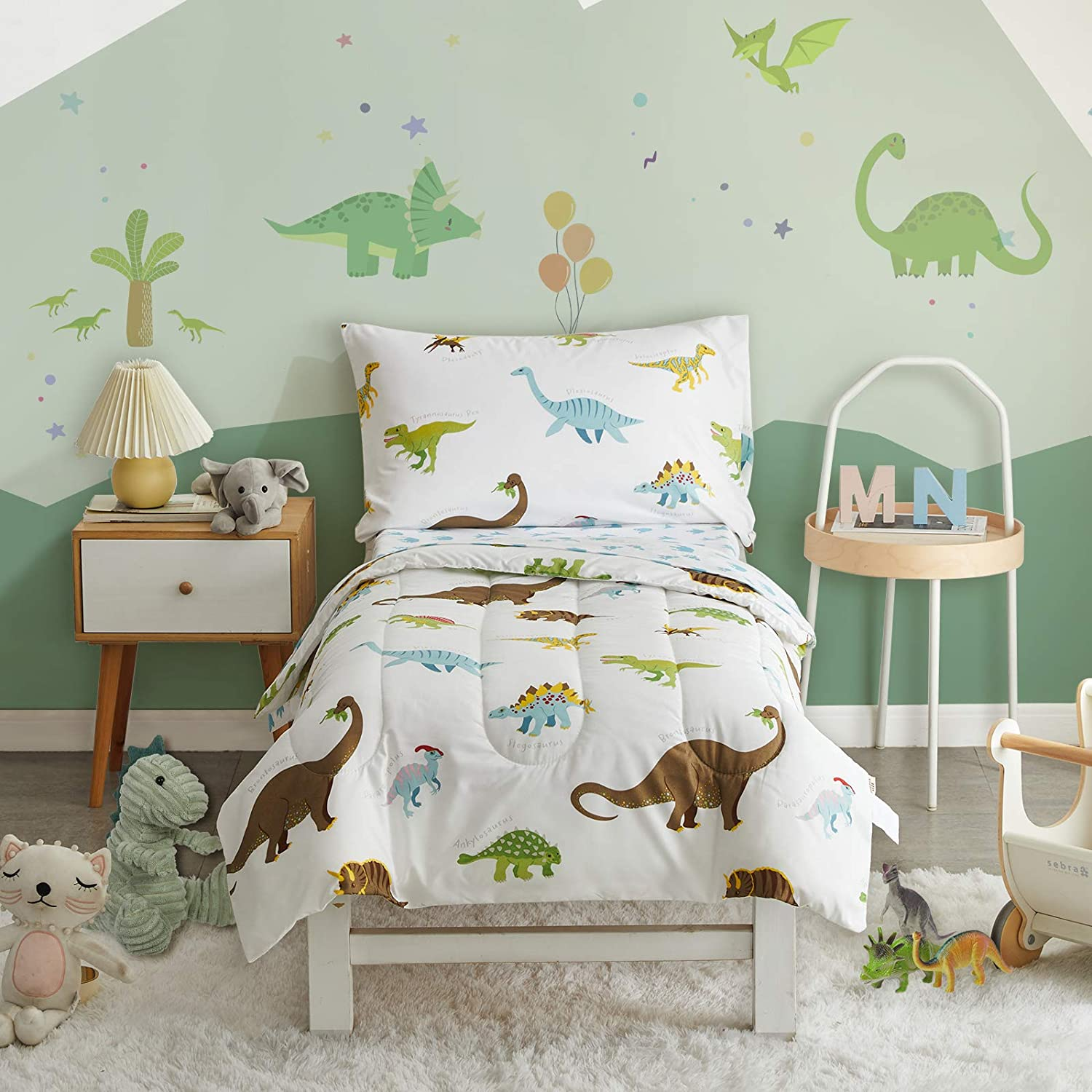 Uozzi Bedding 4 Pieces Toddler Bedding Set Dinosaur White Includes Comforter, Flat Sheet, Fitted Sheet and Pillowcase