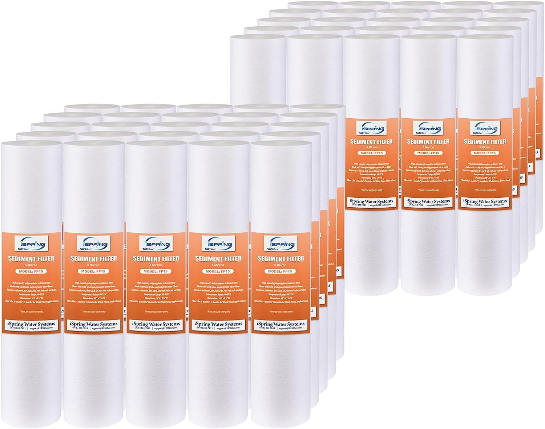 ISpring 5M-50PK FP15X50 Sediment Filter Cartridges 5 Micron 10  x 2.5 , 50-Pack, white