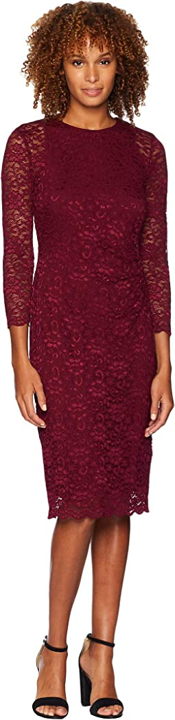 Floral Stretch Lace Dexter 3/4 Sleeve Day Dress