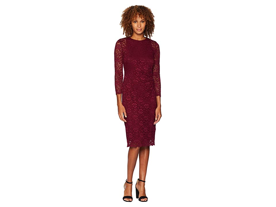 LAUREN Ralph Lauren Floral Stretch Lace Dexter 3/4 Sleeve Day Dress (New Pomegranate) Women