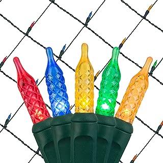 Wintergreen Lighting Multicolor LED Net Lights Outdoor LED Holiday Lights Net, Outdoor Decorative Lights Christmas Net Lights, Hedge Christmas Lights, Set of 100 (4 x 6 ft, M5 Lights, Multicolor)