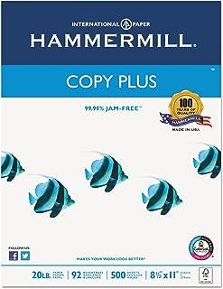 Hammermill 105007 Copy Plus Copy Paper, 92 Brightness, 20lb, 8-1/2 x 11, White, 5000 Sheets/Carton