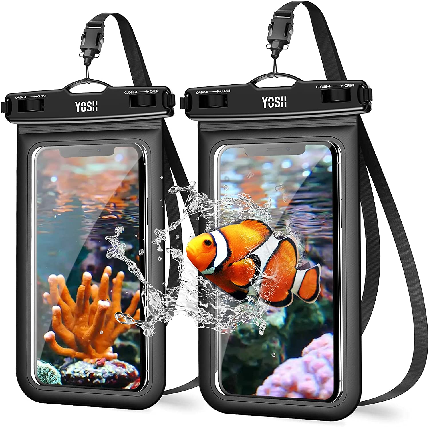 YOSH Waterproof Phone Case Universal Waterproof Phone Pouch IPX8 Dry Bag Compatible for iPhone 12 11 SE X 8 7 6 Galaxy S21 Pixel up to 6.8