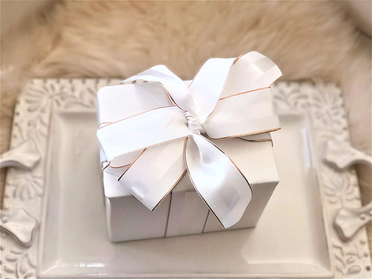 Winter White & Rose Gold Grosgrain Ribbon 1 1/2 inch, 10 Yards Per Roll | Double Face, 1.5 Inch, Premium Fabric Ribbon with Metal Trim | for Wedding Gifts, Baby Showers, Bridal Showers, Crafts