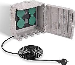 SALCAR Premium Gartensteckdose mit 4 Steckplätzen - 3m Verlängerungskabel - Wasserdicht - Außensteckdose - Steckdose mit ON/Auto Dämmerungssensor - 3680W 16A Mehrfachsteckdosen für draußen - Grau