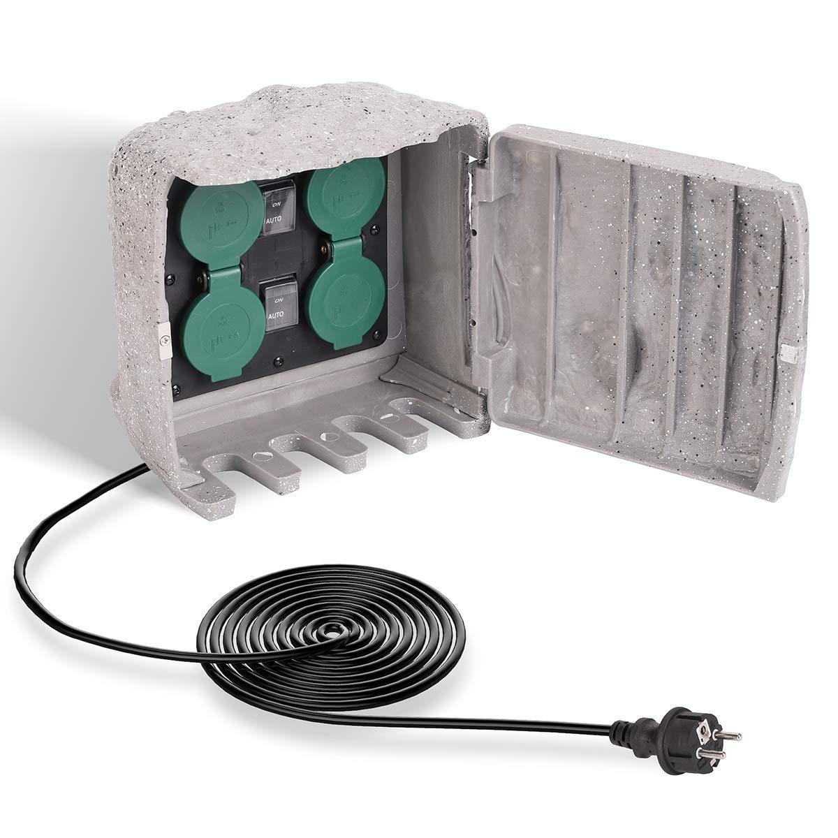 SALCAR Toma de Corriente para jardín a Prueba de Agua con 4 Tomas CA, Cable de Extensión de 3M con Sensor Crepuscular Tomas para Exteriores, 3680W 16A Tomas de Corriente Externa, Gris: