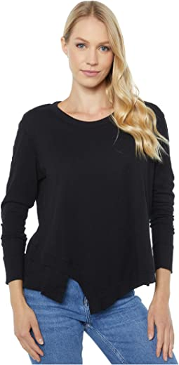 Slub Jersey Long Sleeve Tee with Asymmetrical Hem
