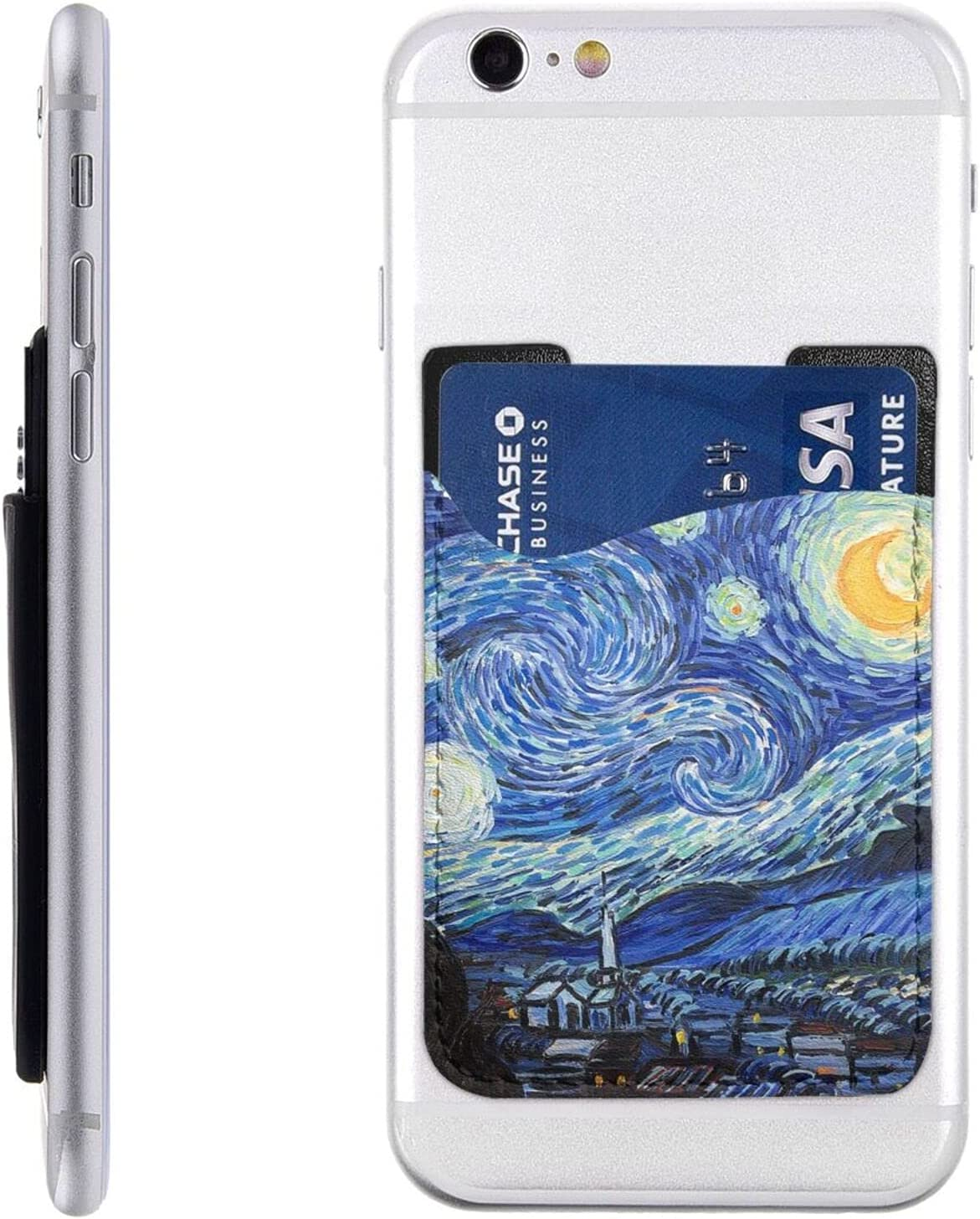 Starry Night Van Gogh Cell Phone Card Holder PU case Back Ultra Slim Adhesive Stick On Card Wallet Sticker for iPhone Android