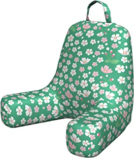 Ambesonne Cherry Blossom Foam Reading Pillow, Downward Sloping Cherry Blossom Petals on a Greenery Background, Shredded Visco Bedrest with Washable Cover and Pocket, Small, Rose and Sea Green