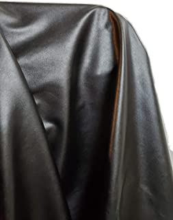 Black Thin Soft Faux Vegan PU {Peta Approved Vegan} Leather by The Yard Synthetic Pleather 0.6 mm Nappa Yards (36 inch Wide x 54 inch) Lightweight (Black Garment Weight, 1 Yard (36