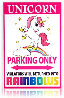 Bigtime Signs Unicorn Parking Only Sign - 8 inch x 12 inch - Funny Gag Gift for Girls Bedroom Wall Decor or Locker - Rainbow Sign Corrugated Plastic for Indoor or Outdoor Use
