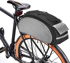 BAIGIO Borsa Bici Posteriore Cremagliera Multifunzionale Pacchetto Zaino Borsa da Bicicletta MTB Borsa Portapacchi Bici con Tracolla & Striscia Riflettente,13L
