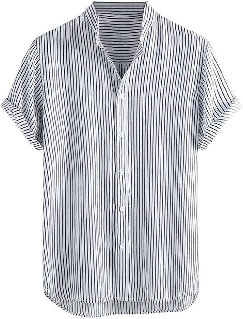 MODOQO Mens Dress Shirts,Casual Stand Collar Stripe Loose Fit Button Down Tees