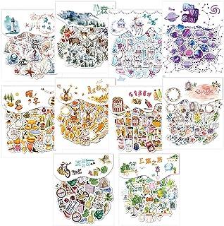 Bluelves Autocollants Décoratifs Transparents, 400pcs Stickers Scrapbooking, Autocollant Vintage Ensemble D'autocollants d...