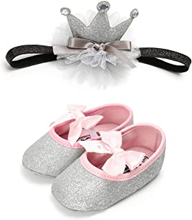 Babywearoutlet NewBorn Baby Girl's Pre-Walker Soft-Soled Anti-Slip Shoes Simple Solid Color With Crown Hair Band
