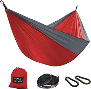 Active Roots Double Camping Hammock with Tree Straps - Portable Hammock, Parachute Nylon Lightweight Hammock for Backpacking, Travel, Indoor, Outdoor