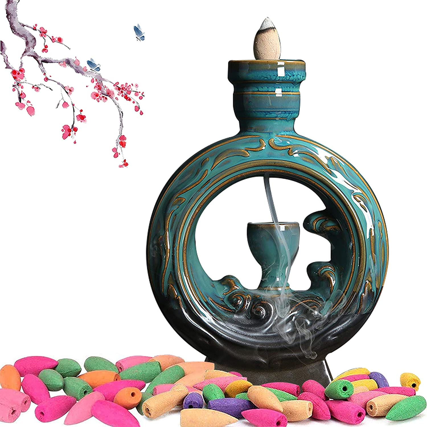 ZWCIBN Incense Burner,Backflow Incense Fountain Waterfall Stick Holder,Incece Falls Meditation Decor for Your Room