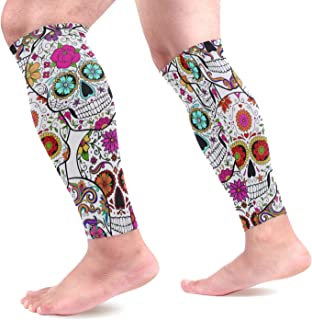 visesunny Fun Sugar Skull Printed Sports Compression Sleeves Leg Performance Support Shin Splint, Calf Pain Relief - Men, ...